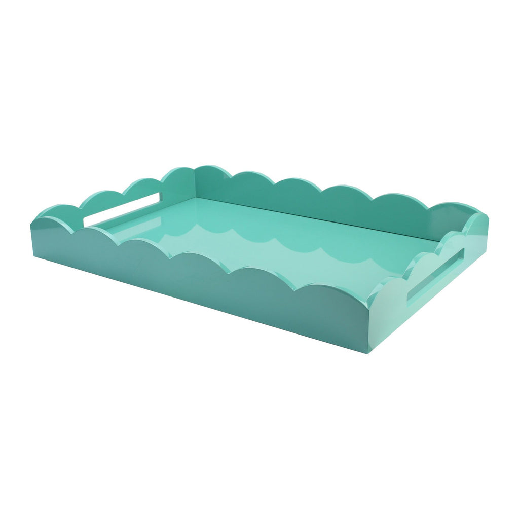 Turquoise Large Lacquered Scallop Ottoman Tray