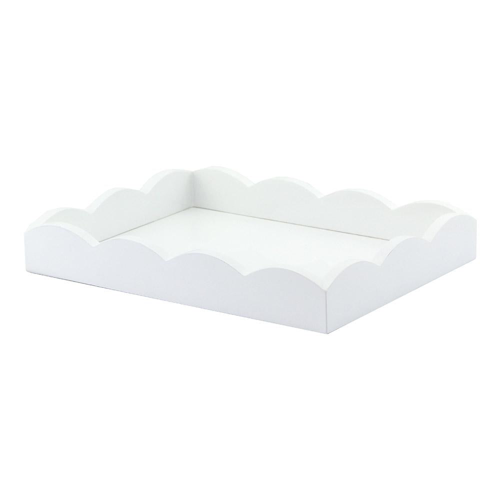 White Small Lacquered Scalloped Vanity Tray