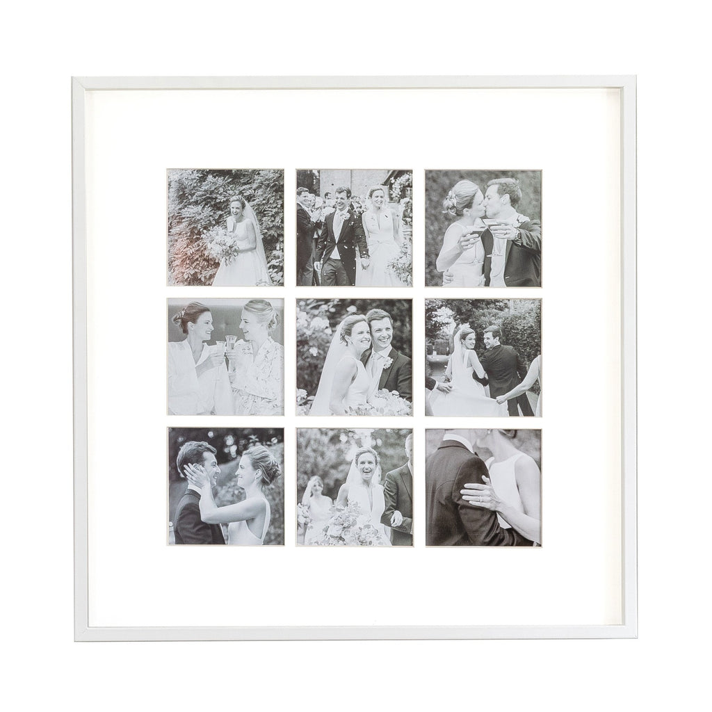 Nine Aperture White Wall Hanging Frame