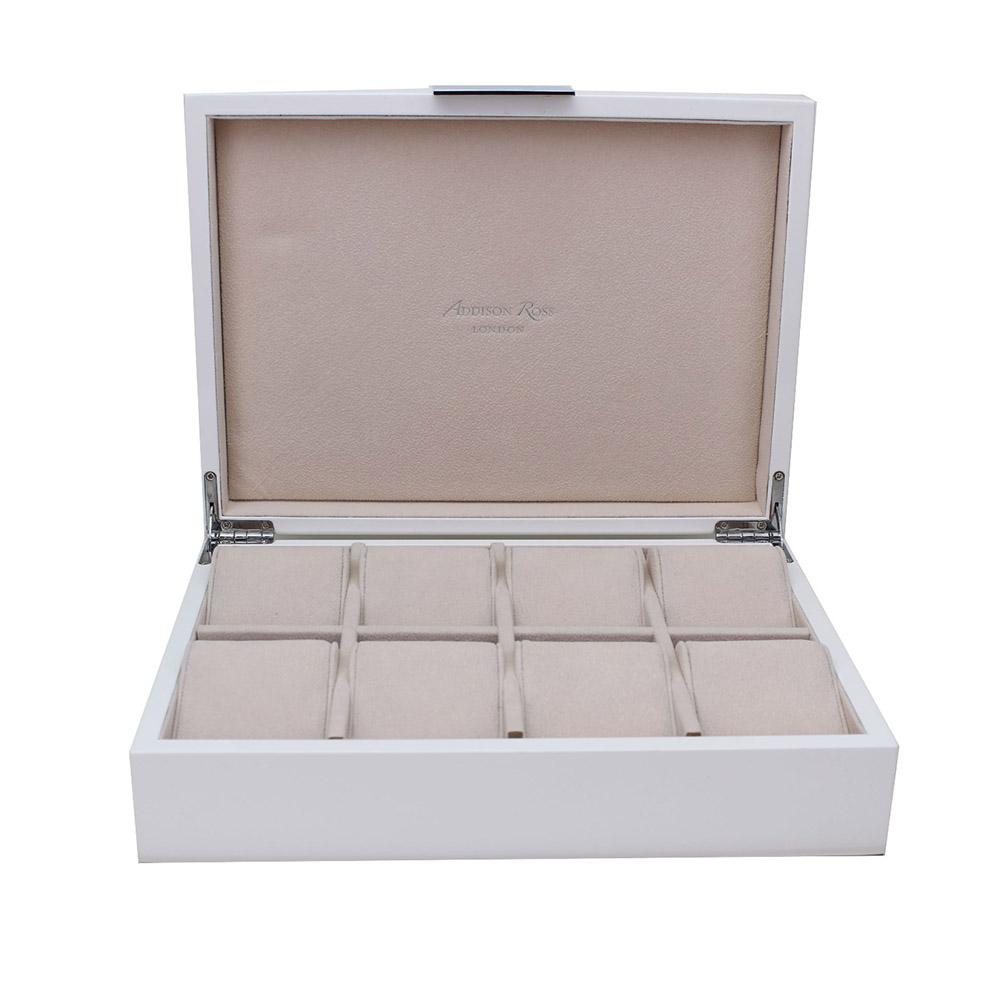 Large White & Silver Watch Box