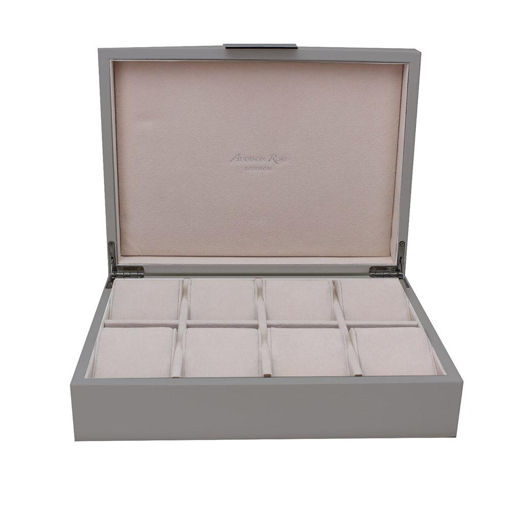 Large Chiffon Grey & Gold Watch Box