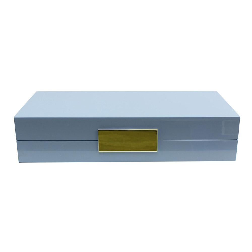 Pale Denim Lacquer Box with Gold