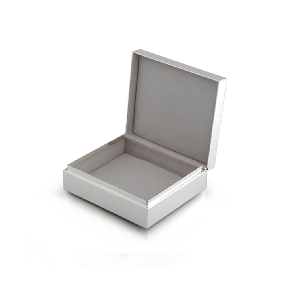 "4"" White Enamel & Silver Box - Boxes & Pots - Addison Ross"
