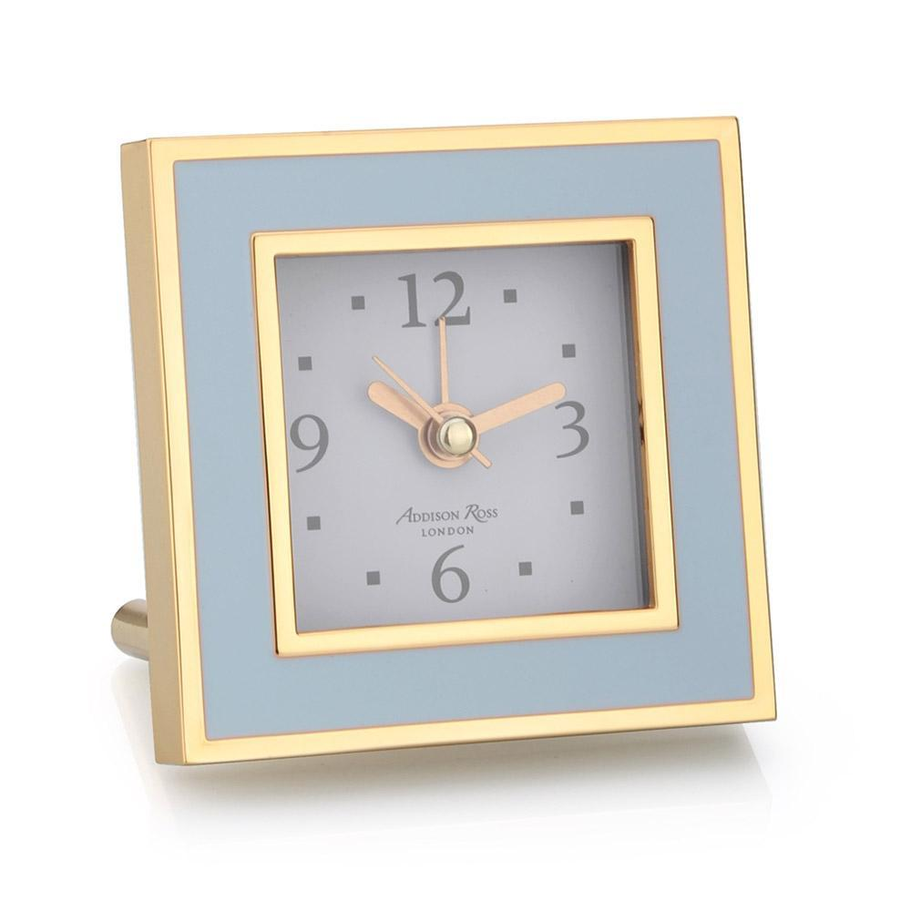 Powder Blue & Gold Square Silent Alarm Clock
