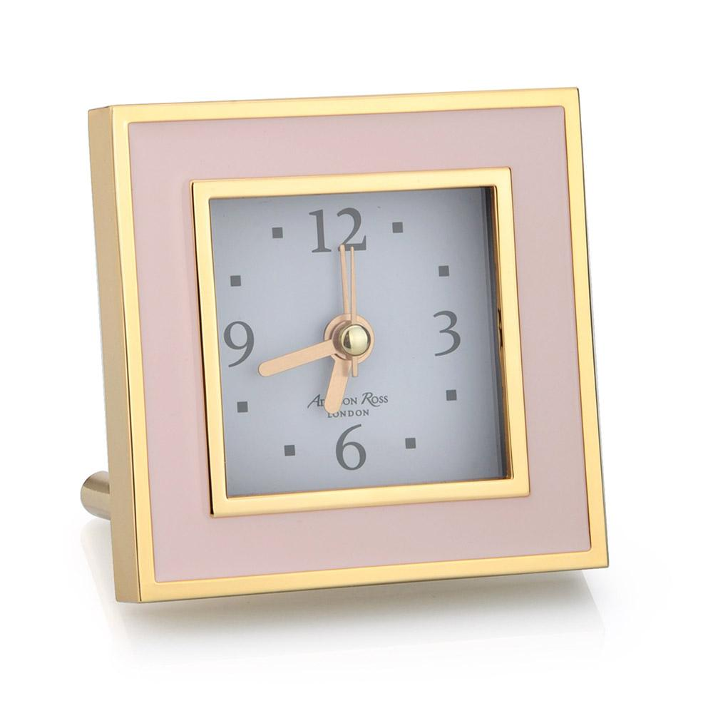 Pale Pink & Gold Square Silent Alarm Clock
