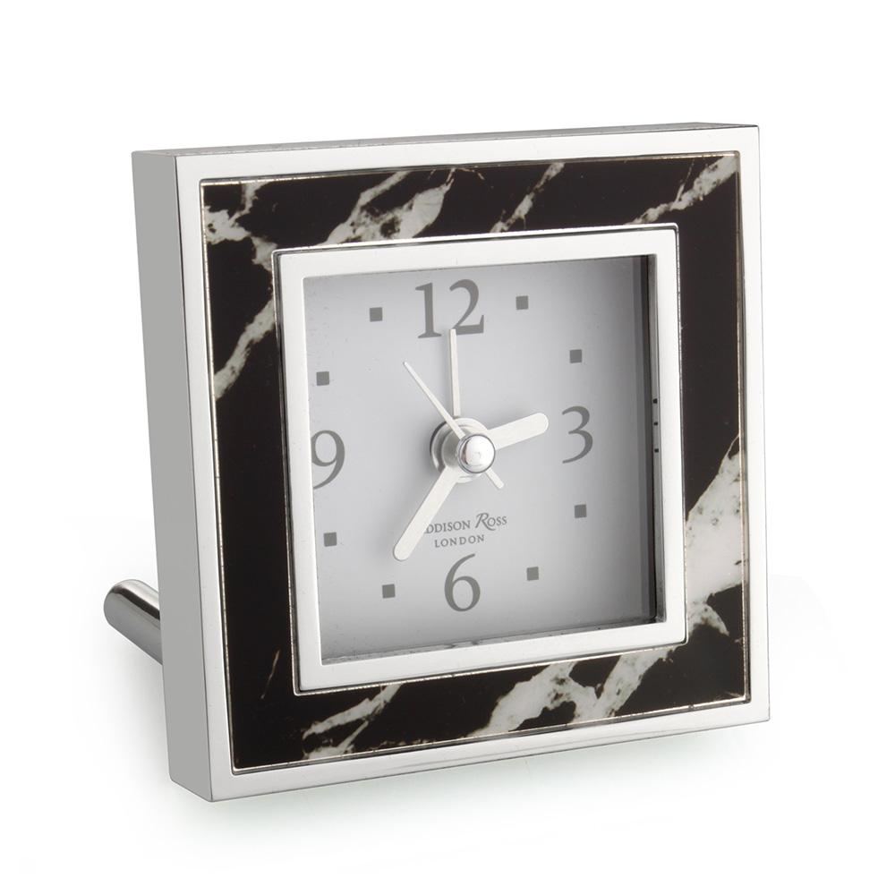Black Marble Square Alarm Clock - Clock - Addison Ross
