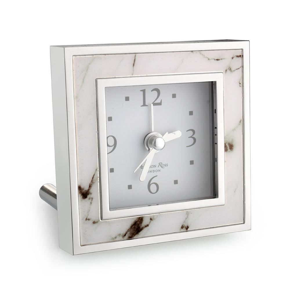 White Marble Square Alarm Clock - Clock - Addison Ross