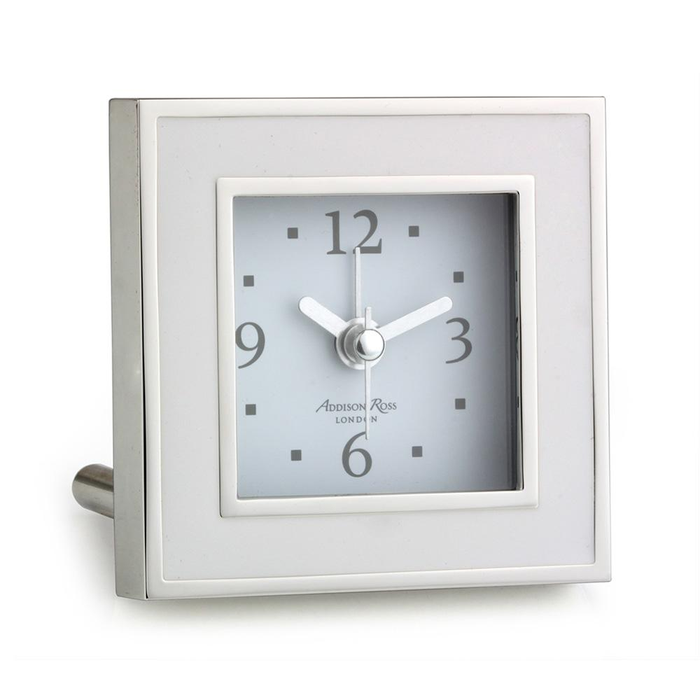 White & Silver Square Alarm Clock - Clock - Addison Ross