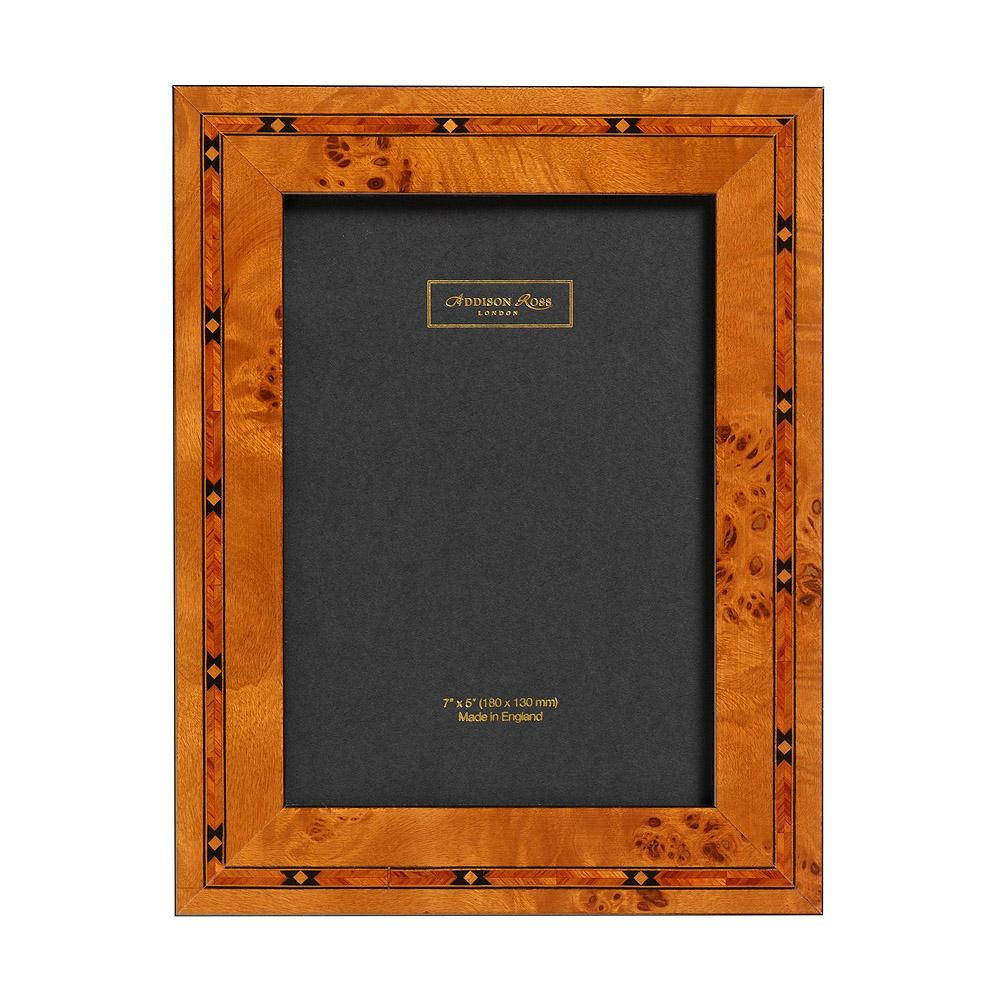 Brown Star 3cm Marquetry Frame, Taffeta Back - Wood Frames - Addison Ross