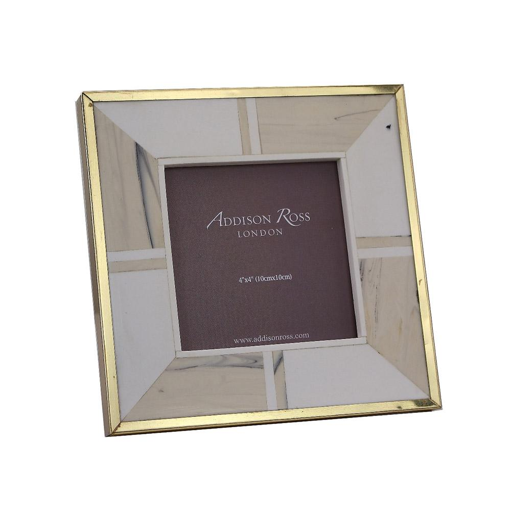 White Bone 4 x 4 Photo Frame With Brass Border - Exotic Frames - Addison Ross