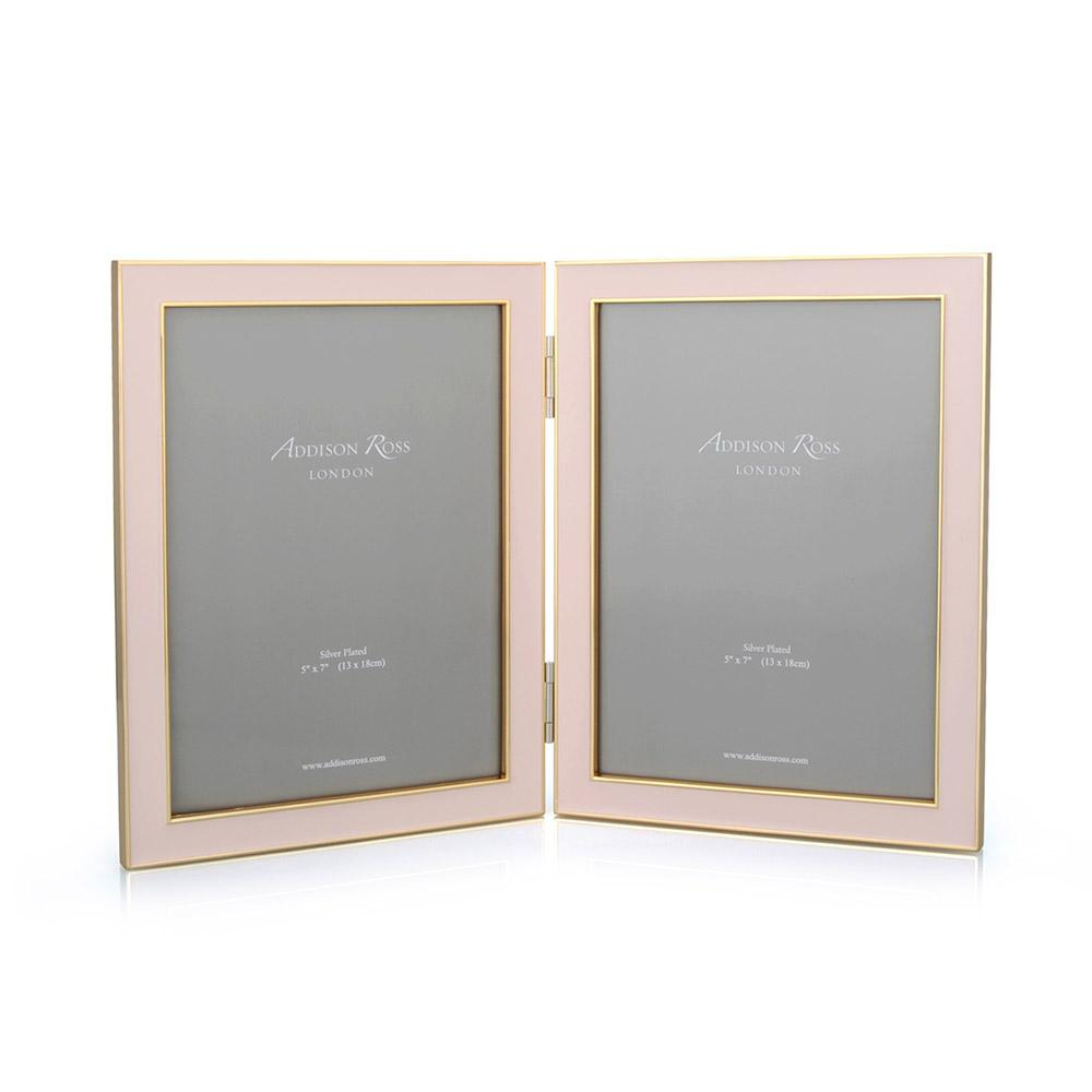 Pale Pink Enamel & Gold Double Frame