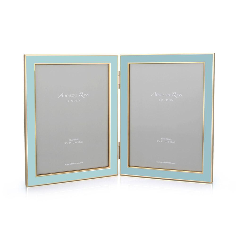 Powder Blue Enamel & Gold Double Frame
