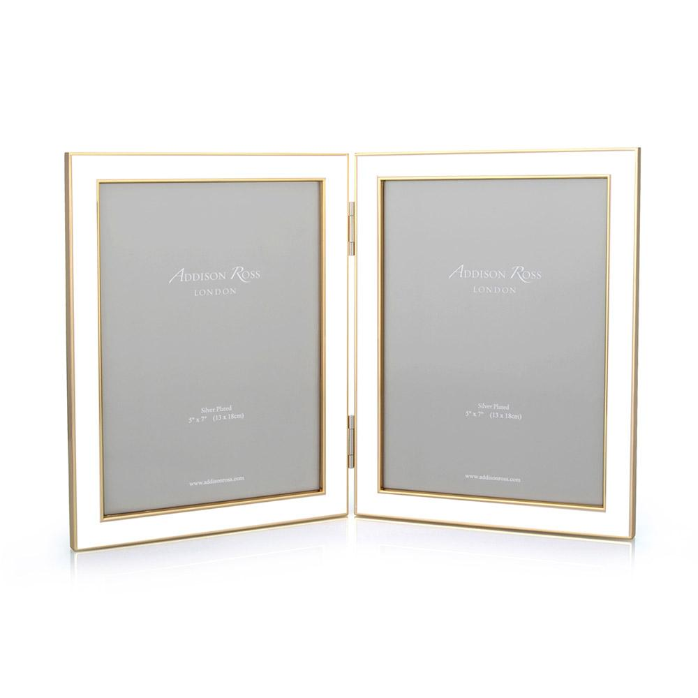 White Enamel & Gold Double Frame