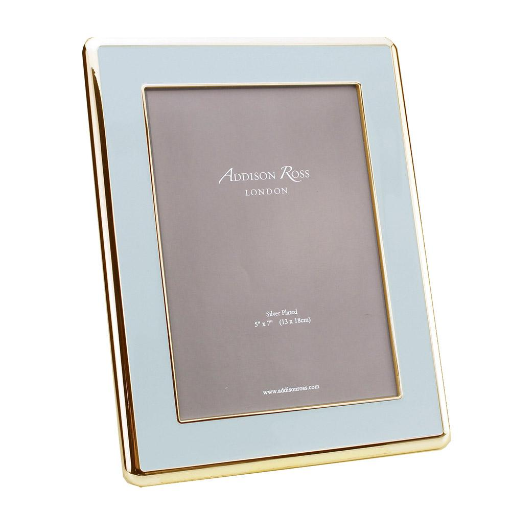 Powder Blue Enamel & Gold Curve Frame