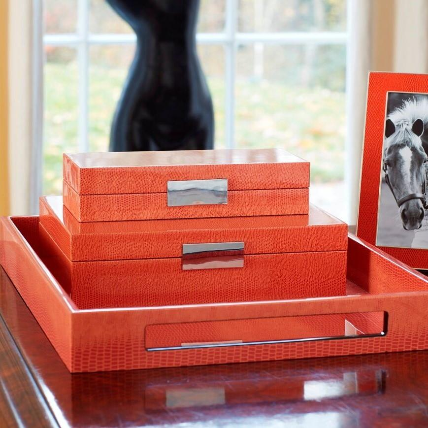 Large Orange Croc Lacquer Box with Silver