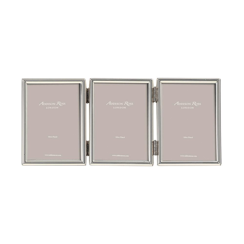 Fine Edged Silver Triple Photo Frame - Silver Frames - Addison Ross