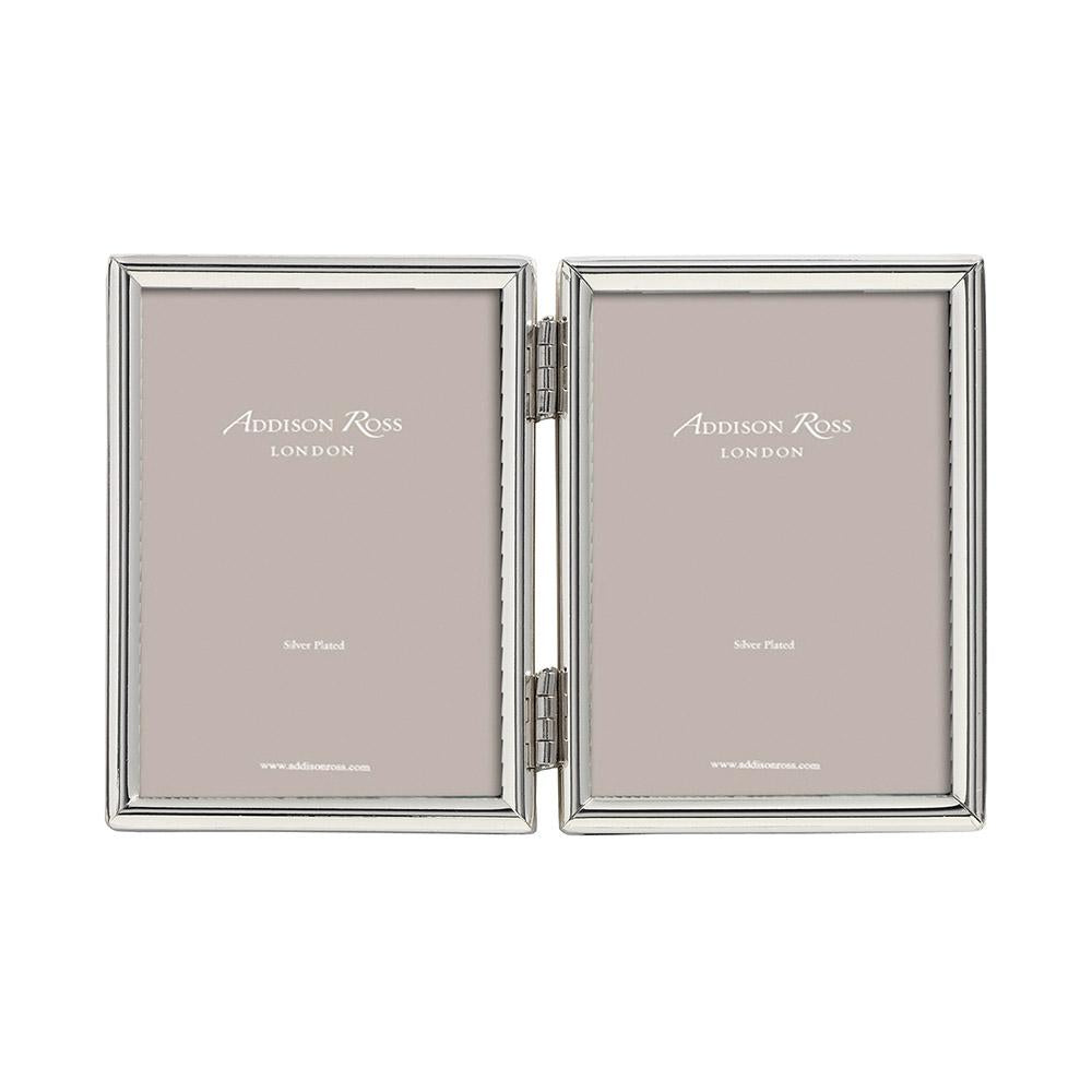 Fine Edged Silver Double Photo Frame - Silver Frames - Addison Ross