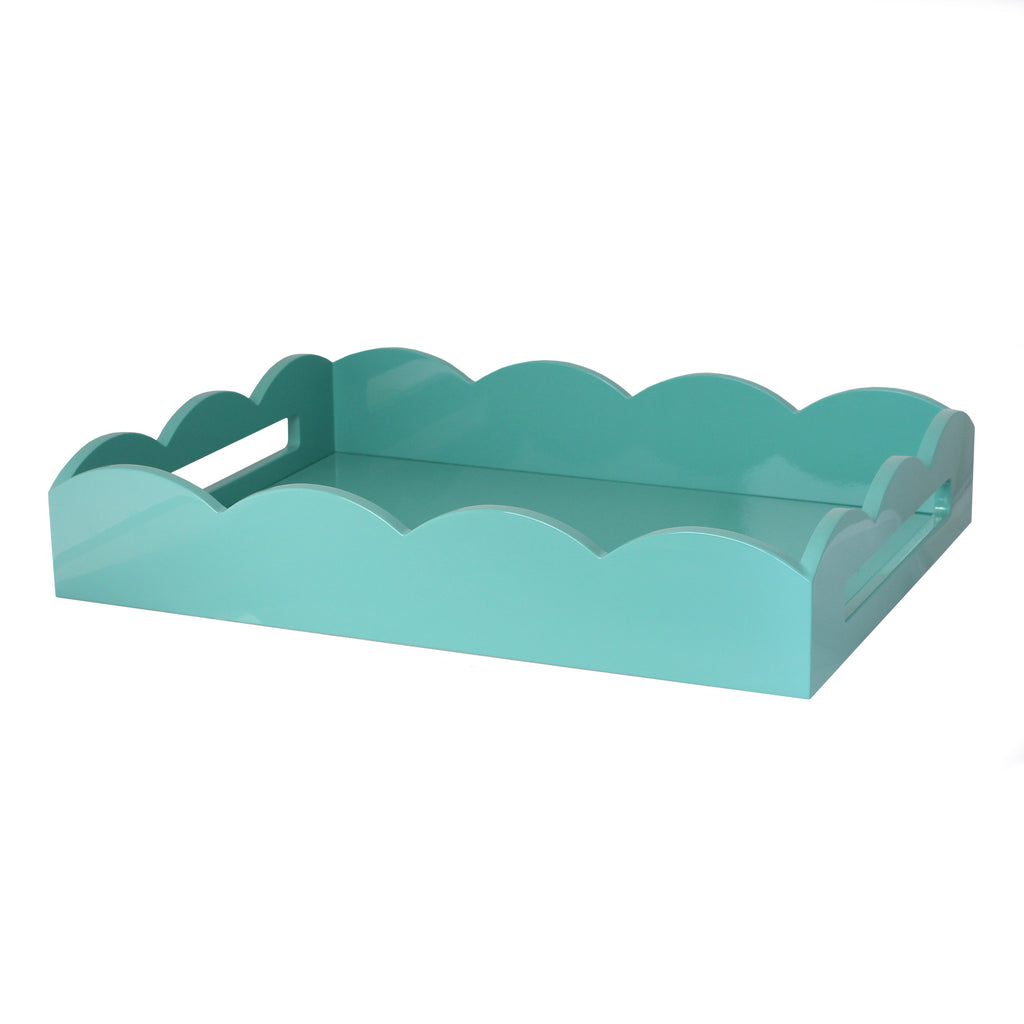 Turquoise Medium Lacquered Scallop Serving Tray
