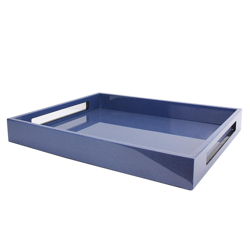 Blue Shagreen Medium Lacquered Serving Tray