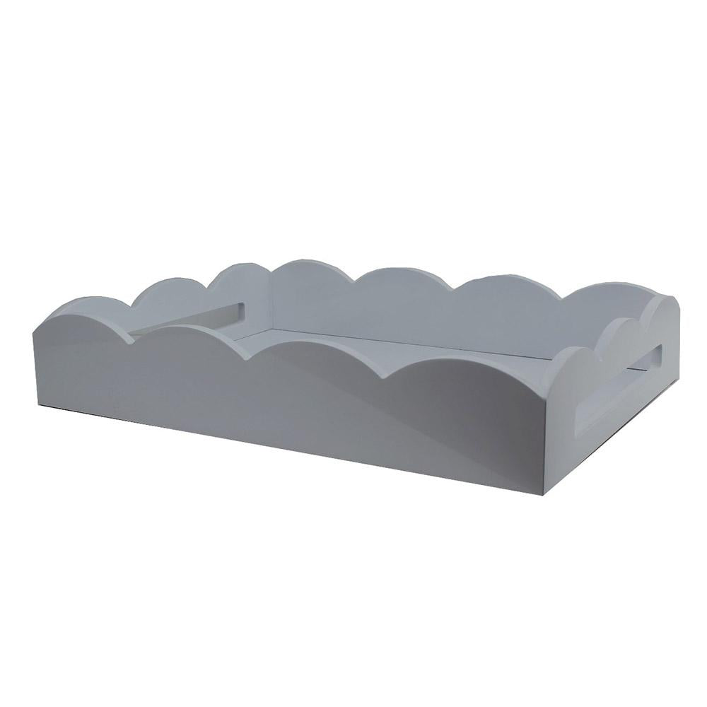 Chiffon Grey Medium Lacquered Scallop Serving Tray
