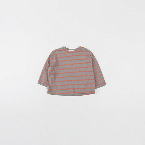 Striped Loose Fit Tee Gray Basics Chou La La Fashion Inc.