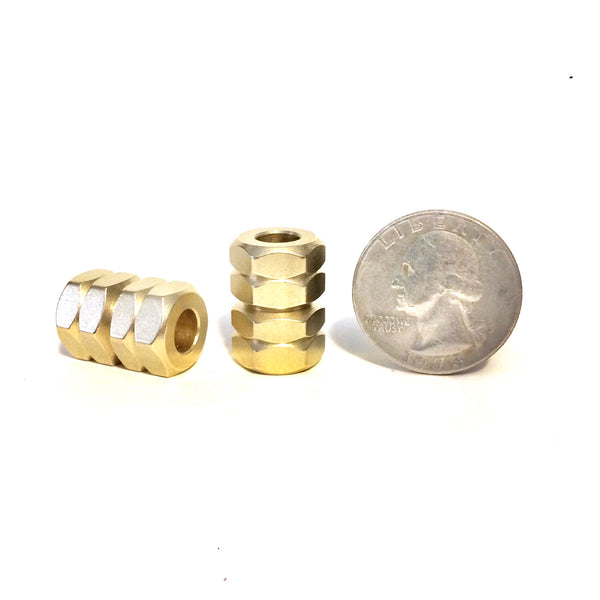 Brass Hex Bead, two finishes to choose from!