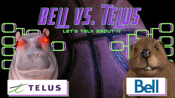 """BELL VS TELUS: Let's Talk About It. The graphic is set on a basketball background with Purple and Green lettering and a Purple and green stylized bracket. There are two corporate mascots facing off. The TELUS Hippo from the christmas ads with glowing eyes and the Bell Beaver """"Frank"""" from the 00's marketing campaigns"""