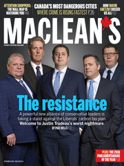 Doug Ford, Brian Pallister, Erin O'Toole, Jason Kenney, and Scott Moe stand around wearing suits, resisting something on the cover of Maclean's