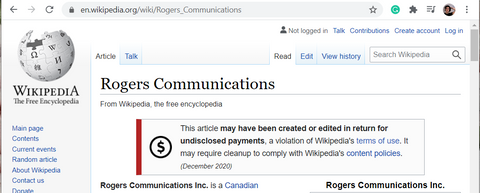 """Screenshot of the Rogers Wikipedia page with a red notification reading """"This article may have been created or edited in return for undisclosed payments, a violation of Wikipedia's terms of use. It may require cleanup to comply with Wikipedia's content policies"""""""