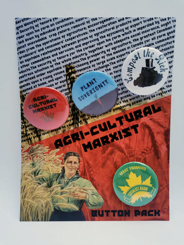 """Agri-Cultural Marxist"" 1.5 inch Leftist Button Pin Badge Pack"