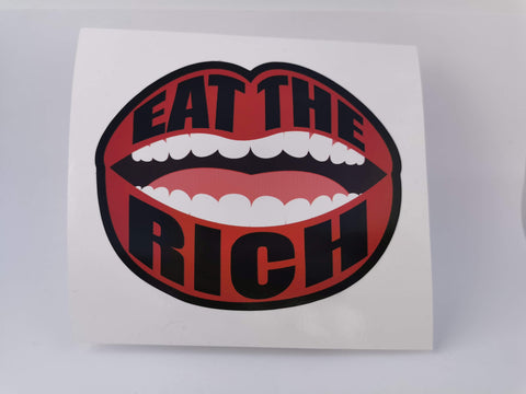 """Eat the Rich"" 4 inch Lips Laptop Sticker"