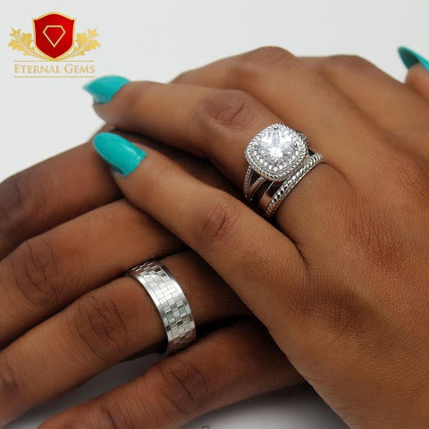 luxury sterling silver wedding set in different designs