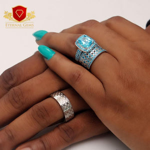 Sterling Silver Wedding set for Women- Eternal Gems