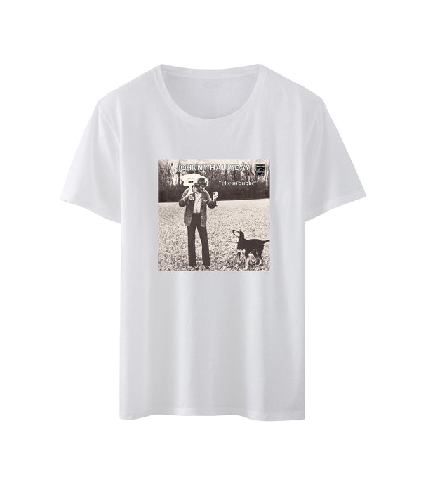 T-shirt homme blanc Elle m'oublie - Johnny Hallyday