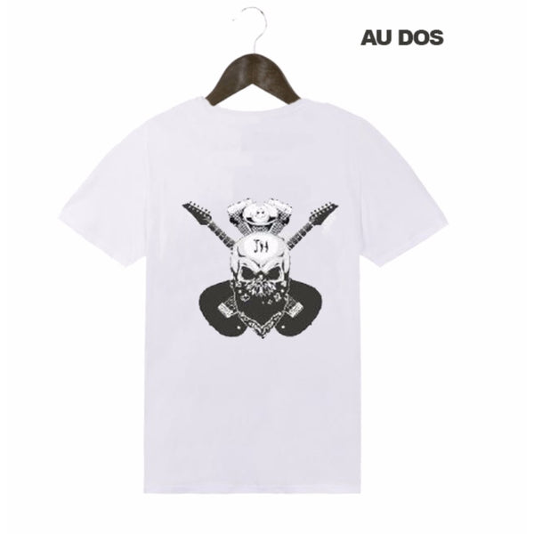 Tee-Shirt Homme blanc Double Guitare - Johnny Hallyday
