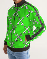 SLIME KEY Men's Stripe-Sleeve Track Jacket