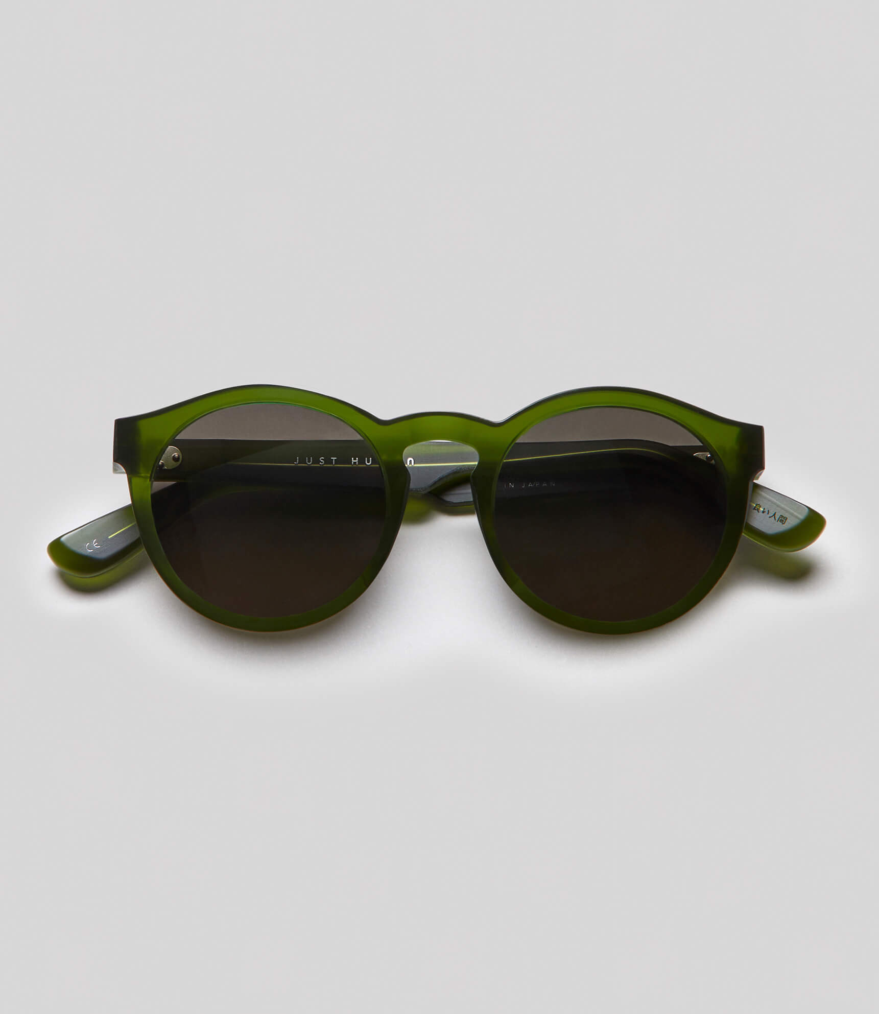 Round green sunglasses eco friendly sustainable fashion made in Japan unisex sunglasses for men sunglasses for women and blue light filter