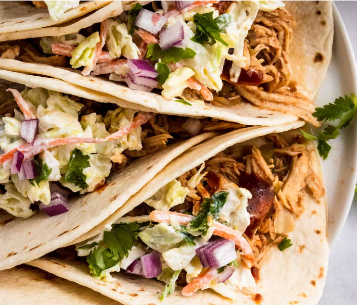 BBQ Chicken Tacos with Coleslaw