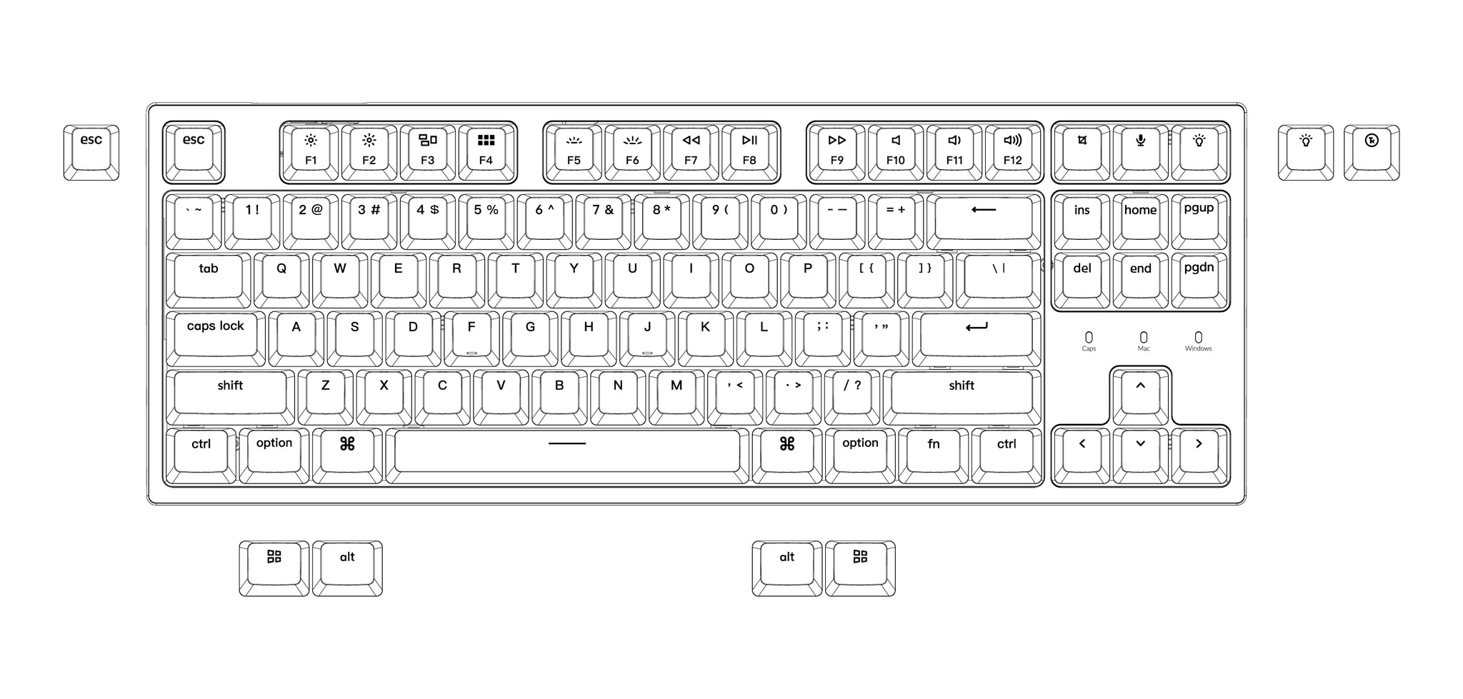 Keychron C1 hot-swappable wired type-c mechanical keyboard tenkeyless layout for Mac Windows iOS Gateron switch red blue brown RGB backlight HD Keycap Photo