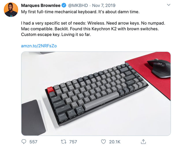 Marques Brownlee MKBHD using Keychron K2