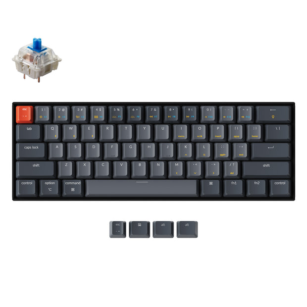 Keychron K12 60% compact hot-swappable wireless mechanical keyboard for Mac and Windows with White RGB backlight Gateron mechanical switch blue