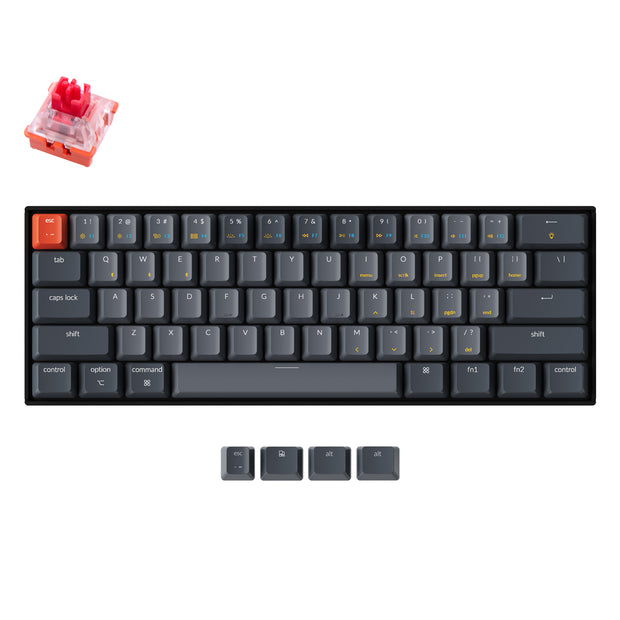 Keychron K12 60% compact hot-swappable wireless mechanical keyboard with for Mac and Windows with White RGB backlight Keychron Lava optical switch red