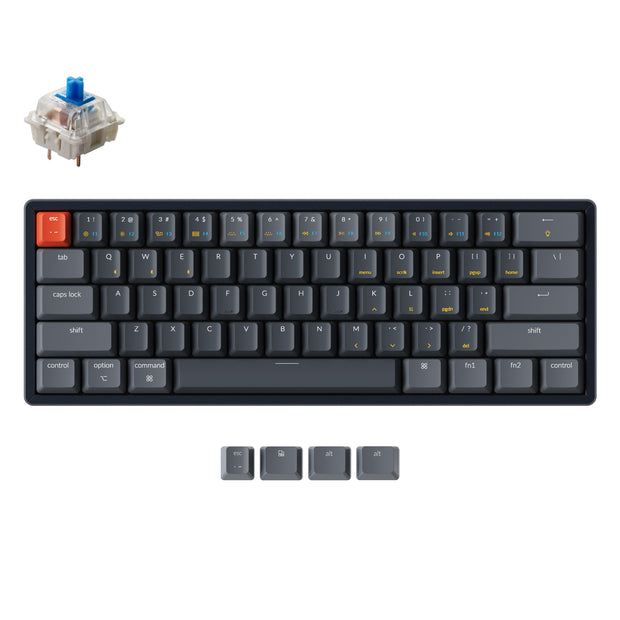 Keychron K12 60% compact hot-swappable wireless mechanical keyboard with aluminum frame for Mac and Windows with White RGB backlight Gateron mechanical switch blue