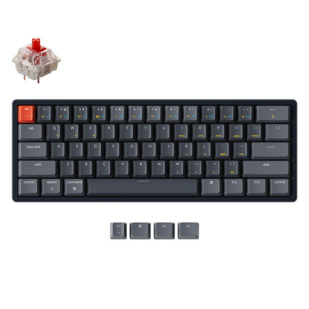 Keychron K12 60% compact hot-swappable wireless mechanical keyboard with aluminum frame for Mac and Windows with White RGB backlight Gateron mechanical switch red