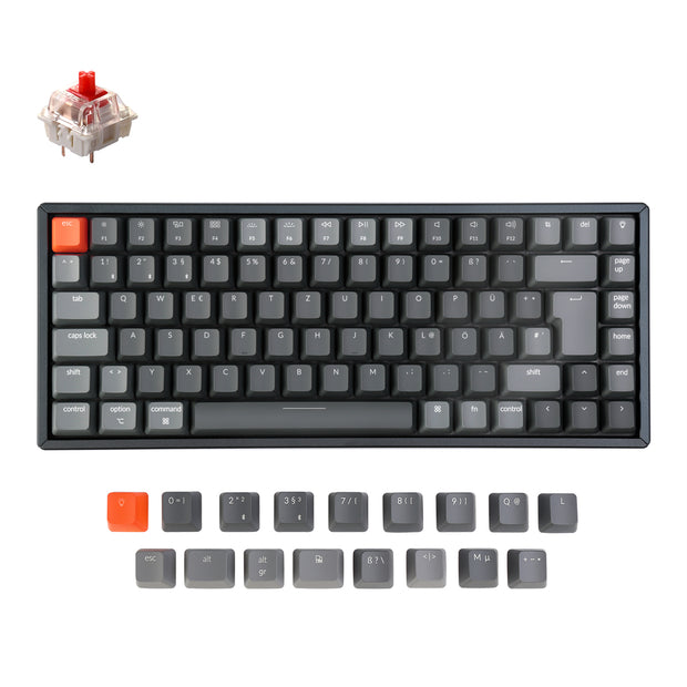 Keychron K2 Wireless Mechanical Keyboard German ISO DE QWERTZ Gateron red switch RGB light white backlit with aluminum frame