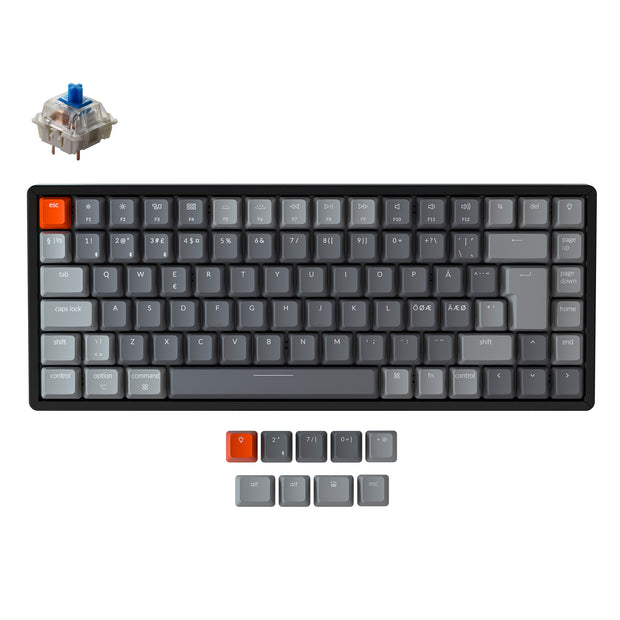 Keychron K2 Wireless Mechanical Keyboard (Nordic ISO Layout) - Keychron | Wireless Mechanical Keyboards for Mac Windows White Backlight RGB Backlit Gateron Mechanical Blue Switch with Aluminum Frame