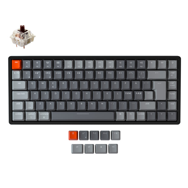Keychron K2 Wireless Mechanical Keyboard (Nordic ISO Layout) - Keychron | Wireless Mechanical Keyboards for Mac Windows White Backlight RGB Backlit Gateron Mechanical Brown Switch with Aluminum Frame