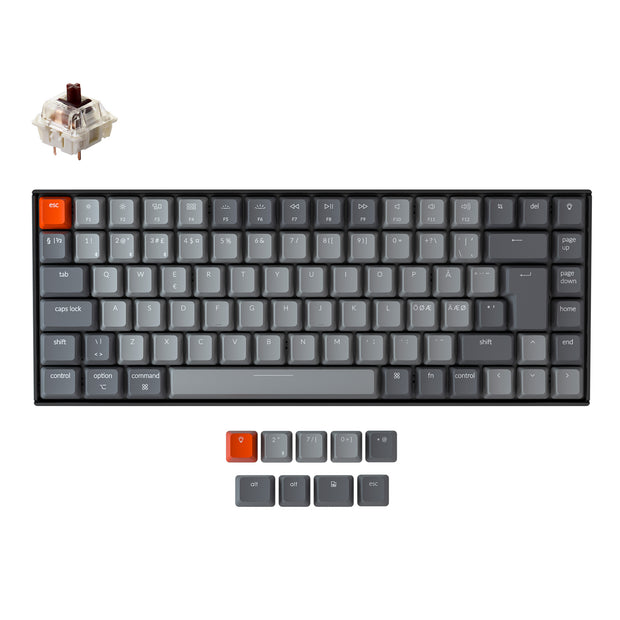 Keychron K2 Wireless Mechanical Keyboard (Nordic ISO Layout) - Keychron | Wireless Mechanical Keyboards for Mac Windows White Backlight RGB Backlit Gateron Mechanical brown Switch
