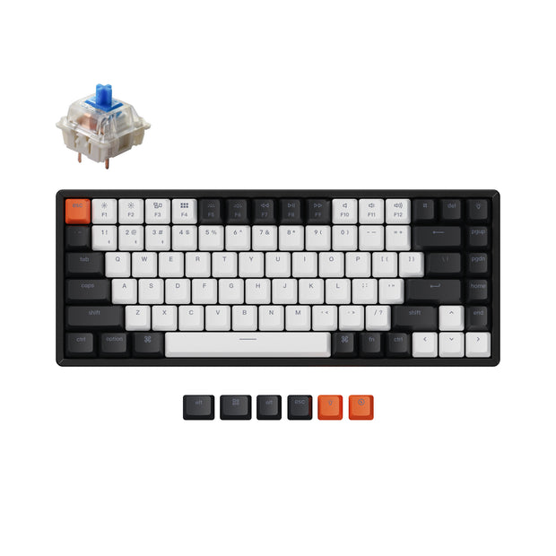 Keychron K2 hot-swappable wireless mechanical keyboard for Mac Windows iOS Gateron switch blue with type-C RGB white backlight aluminum frame