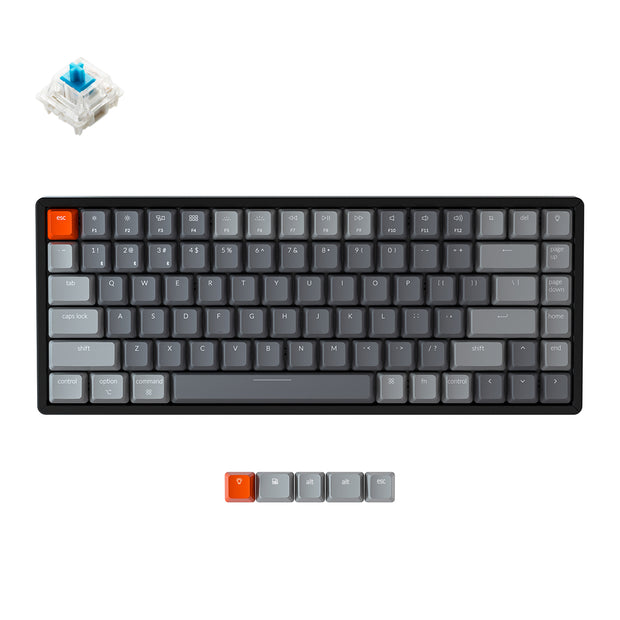 Keychron K2 wireless mechanical keyboard for Mac Windows iOS Gateron switch blue with type-C RGB white backlight aluminum frame